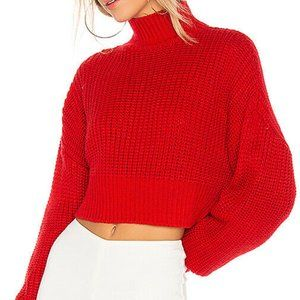 Lovers + Friends Union Sweater Red Crop Knit